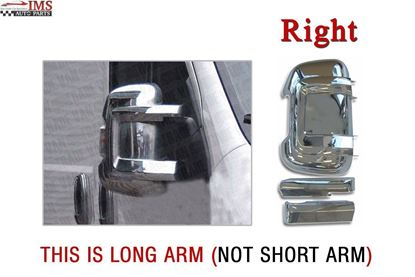 FIAT DUCATO LONG ARM WING MIRROR CHROME CASING COVER RIGHT PASSENGER SIDE WITH ARMS 2006 TO 2013