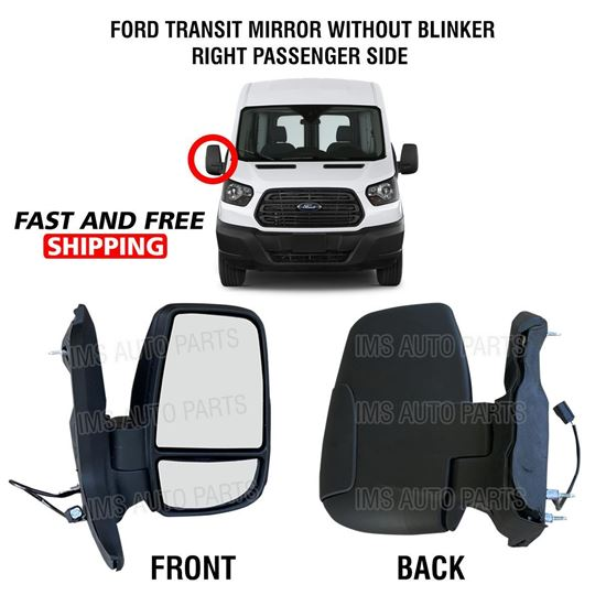 Ford Transit 150 250 350 Electric Manual Mirror Short Arm Without Blinker Right Passenger Side 2015 To 2019