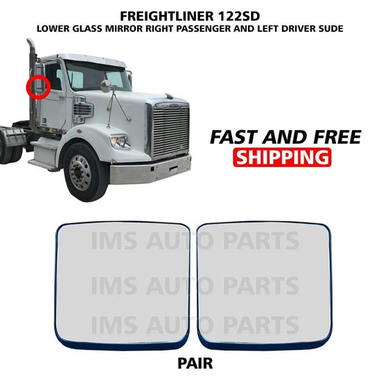 Freightliner 122 SD Mirror Glass Small Heated Right Passenger and Left Driver Side Pair 2005 To 2019