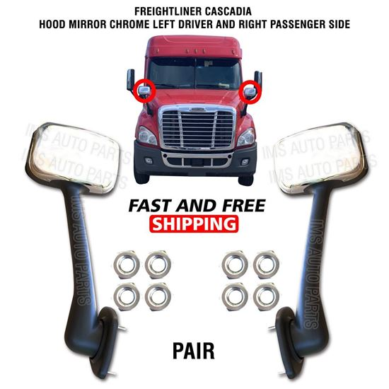 Freightliner Cascadia Hood Chrome Mirror Manual Left Driver and Right Passenger Side Pair 2008 To 2018