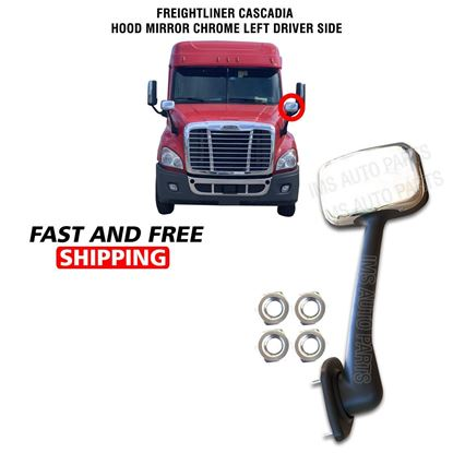 Freightliner Cascadia Hood Chrome Mirror Manual Left Driver Side 2008 To 2018