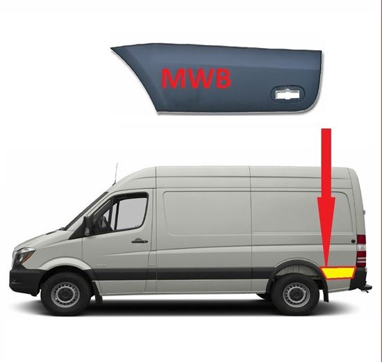 Mercedes Sprinter MWB Plastic Protective Side Moulding Strip Trim Left Driver Side 2007 To 2016