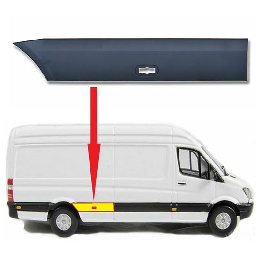 Mercedes Sprinter LWB Plastic Protective Side Moulding Strip Trim Right passenger Side 2007  To 2016