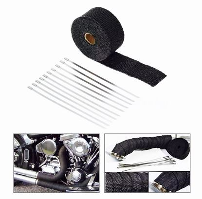 10M BLACK HEAT WRAP EXHAUST MANIFOLD DOWNPIPE + 10 CABLE TIES 30cm 1022