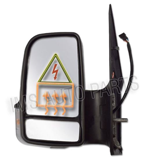VW Crafter Full Door Wing Mirror Electric Black Short Arm Left Driver Side
