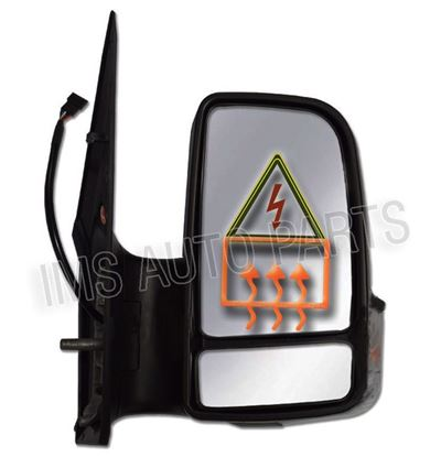 VW Crafter Full Door Wing Mirror Electric Black Short Arm Right Side O/S