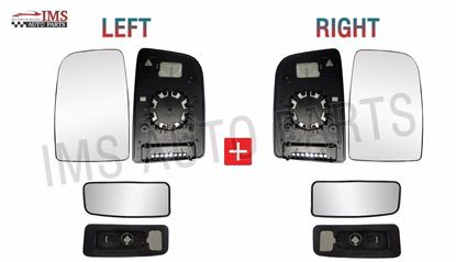 Mercedes Sprinter Mirror Upper Large + Lower Small Glass Push On Left Driver And Right Passenger Side Pair 2007 To 2016