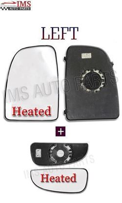 Fiat Ducato Heated Wing Mirror Large Upper + Small Convex Glass Left Driver Side N/S 2006 To 2013