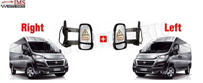 Fiat Ducato Full Door Wing Mirror Electric Heated Long Arm Left Driver And Right Passenger Side Pair 2006 To 2013