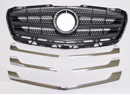 MERCEDES SPRINTER CHROME FRONT GRILLE COVER TRIM KIT SET 5 PCS 2014 2017