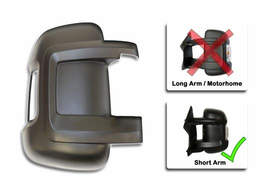 RAM PRO MASTER 1500 VAN DOOR SHORT ARM WING MIRROR COVER RIGHT PASSENGER SIDE O/S 2014 TO 2015