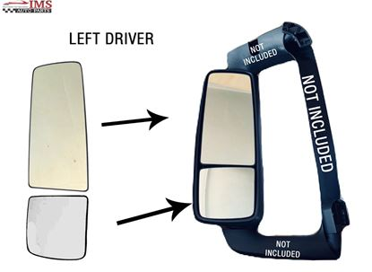 VOLVO VNL VN MIRROR ASSEMBLY UPPER BIG LOWER SMALL GLASS LEFT DRIVER SIDE 2007 TO 2017