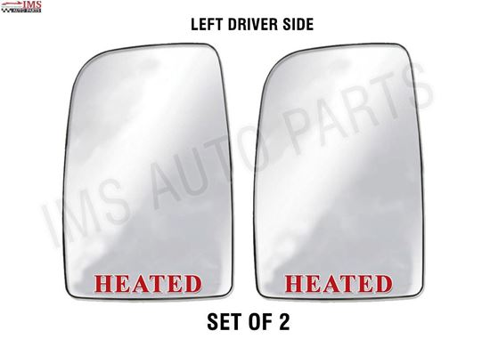 MERCEDES DODGE SPRINTER 250 350 MIRROR GLASS WITH BACK HEATED LEFT DRIVER SIDE SET OF 2 2007 TO 2016 back to product list