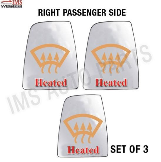 FORD TRANSIT 150 250 350 WING MIRROR LARGE GLASS HEATED RIGHT PASSENGER SIDE SET OF 3 2014 TO 2017
