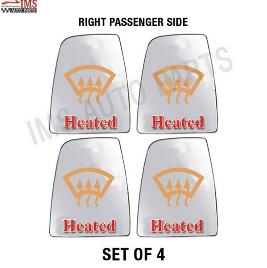 FORD TRANSIT 150 250 350 WING MIRROR LARGE GLASS HEATED RIGHT PASSENGER SIDE SET OF 4 2014 TO 2017