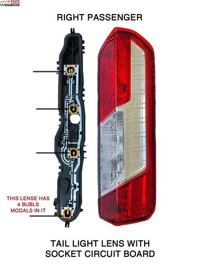 FORD TRANSIT 150 250 350 TAIL LIGHT LENS WITH SOCKET CIRCUIT BOARD RIGHT PASSENGER SIDE 2014 TO 2015