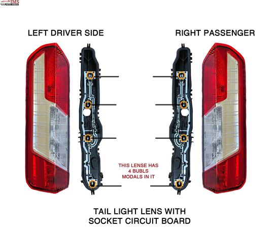 FORD TRANSIT CARGO 150 250 350 TAIL LIGHT LENS WITH SOCKET CIRCUIT BOARD LEFT DRIVER & RIGHT PASSENGER PAIR 2014 TO 2015