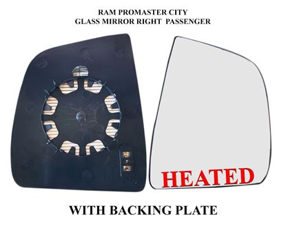 Ram ProMaster City Mirror Glass Heated Assembly With Back Right Passenger Side 2015 To 2019
