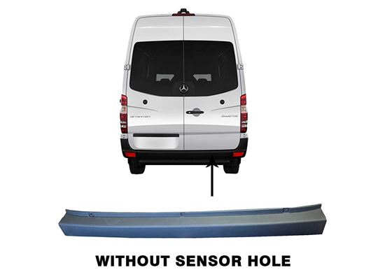 Mercedes Benz Sprinter Rear Bumper Plastic Cover Gray No Sensor Hole 2007 to 2018
