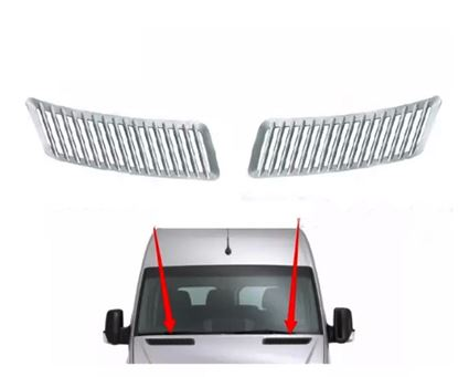 Mercedes Sprinter Chrome Upper Hood Grille Cover Trim Pack of 2 Left Driver and Right Passenger Side 2007 to 2016