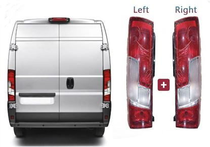 Fiat Ducato Rear Back Tail Light Lamp Lens Right Passenger and Left Driver Side Set 2014 To 2016