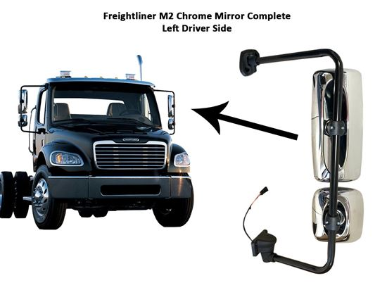 Freightliner Columbia M2 Chrome Complete Mirror Heated Left Driver Side 2010 To 2016