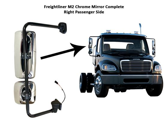 Freightliner Columbia M2 Chrome Complete Mirror Heated Right Passenger Side 2010 To 2016