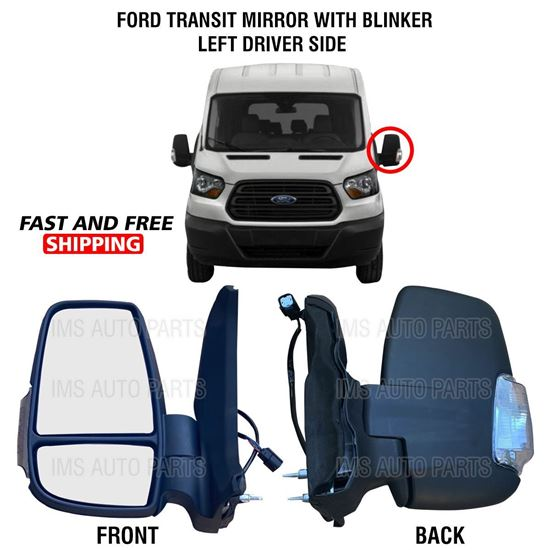 Ford Transit 150 250 350 Mirror Short Arm Heated With Blinker Left Driver Side 2015 To 2019