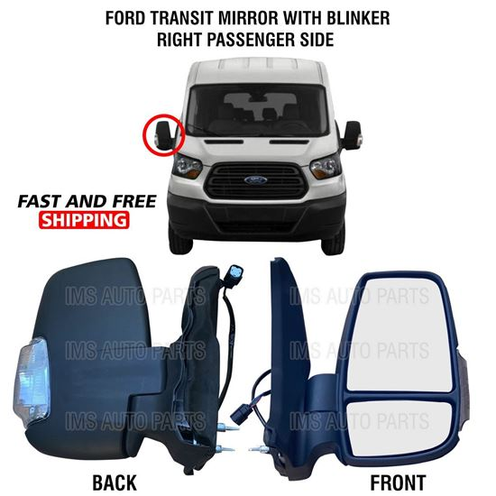Ford Transit 150 250 350 Mirror Short Arm Heated With Blinker Right Passenger Side 2015 To 2019