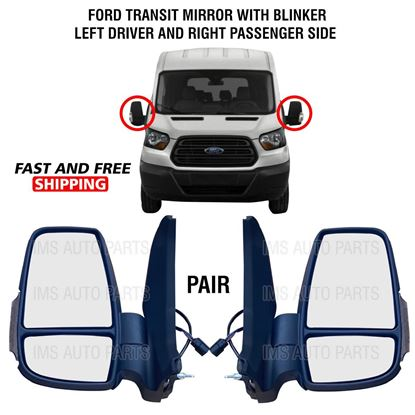 Ford Transit 150 250 350 Mirror Short Arm Heated With Blinker Left Driver and Right Passenger Side 2015 To 2019