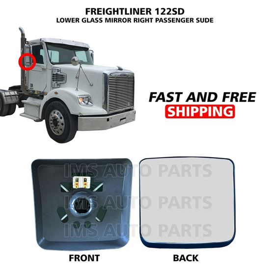 Freightliner 122 SD Mirror Glass Heated Small Lower Right Passenger Side 2005 To 2019