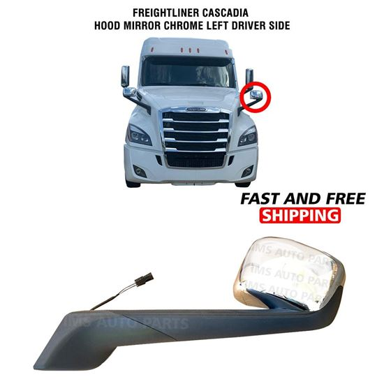 Freightliner Cascadia Hood Mirror Chrome Heated Left Driver Side 2017 To 2020