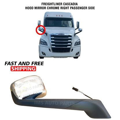 Freightliner Cascadia Hood Mirror Chrome Heated Right Passenger Side 2017 To 2020