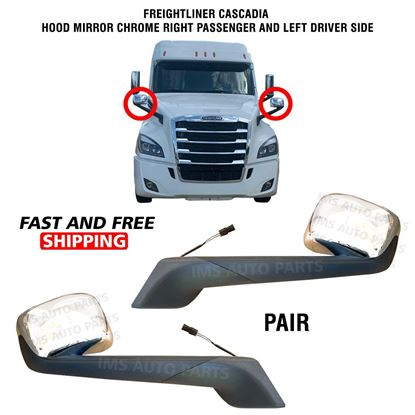Freightliner Cascadia Hood Mirror Chrome Heated Left Driver and Right Passenger Side 2017 To 2020