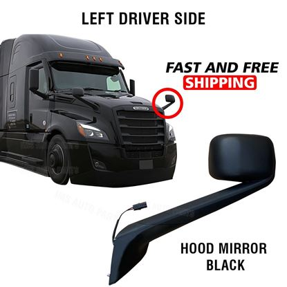 Freightliner Cascadia Black Hood Mirror Electric Heated Left Driver Side 2018 To 2020