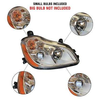 Kenworth T680 Chrome Projector Headlight Assembly With Position Right Passenger Side 2010 To 2019