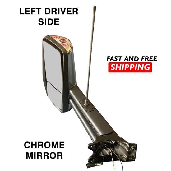 Kenworth T680 T880 Mirror Chrome With Antenna Complete Heated Left Driver Side 2016 To 2020