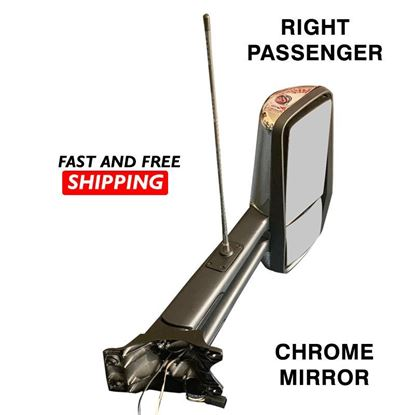 Kenworth T680 T880 Mirror Chrome With Antenna Complete Heated Right Passenger Side 2016 To 2020
