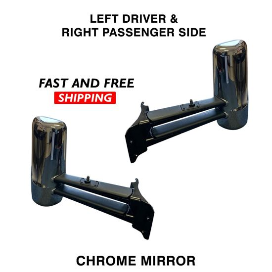 Kenworth T680 T880 Mirror Chrome With Antenna Complete Heated Left Driver and Right Passenger Side 2016 To 2020