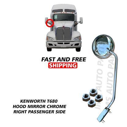 Kenworth T680 Peterbilt 579 Stainless Steel Hood Mirror Chrome Right Passenger Side 2010 To 2020