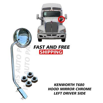 Kenworth T680 Peterbilt 579 Stainless Steel Hood Mirror Chrome Left Driver Side 2010 To 2020