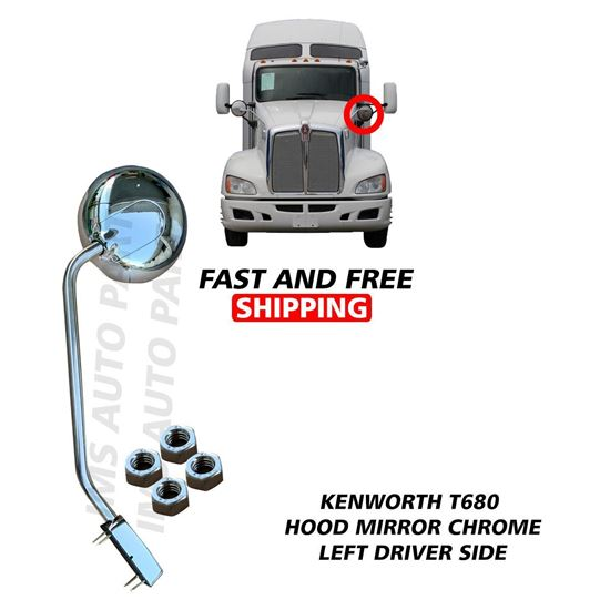 Kenworth T680 Peterbilt 579 Stainless Steel Hood Mirror Chrome Left Driver Side 2010 To 2020