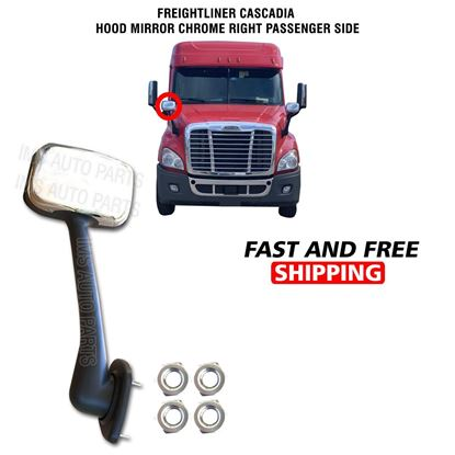 Freightliner Cascadia Hood Chrome Mirror Manual Right Passenger Side 2008 To 2018