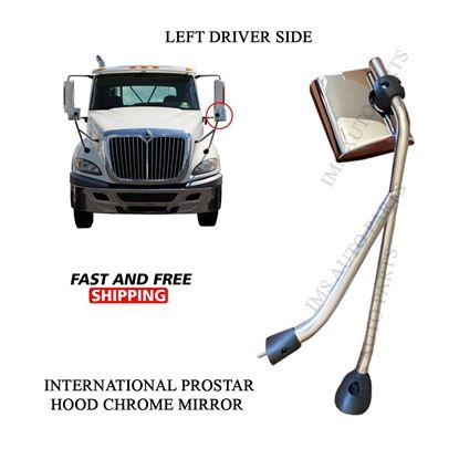 International Prostar Hood Chrome Mirror with Arm Left Driver Side