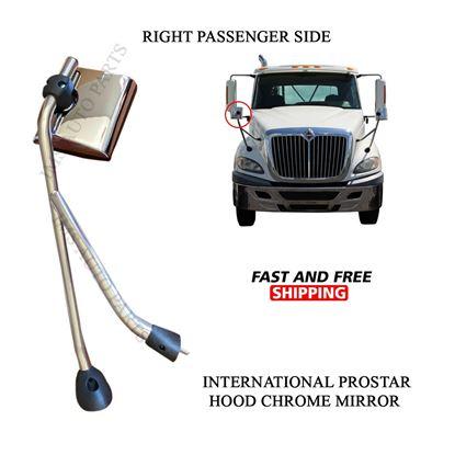 International Pro Star Hood Chrome Mirror with Arm Right Passenger Side