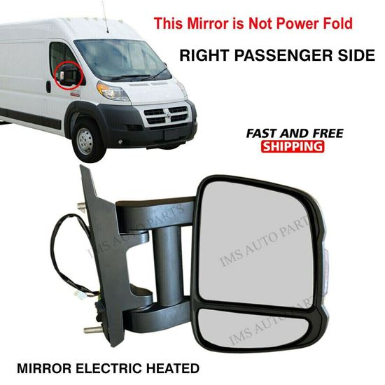 Dodge Ram Promaster Mirror Long Arm Electric Heated Right Passenger Side 2017 To 2021