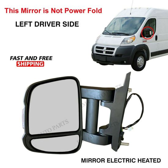 Dodge Ram Promaster Mirror Long Arm Electric Heated Left Driver Side 2017 To 2021